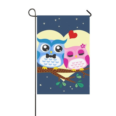 Fred Couples Masters Flag (MKHERT Owl Couple Valentines Day Garden Flag Banner Decorative Flag for Wedding Party Yard Home Outdoor Decor 12x18 inch )