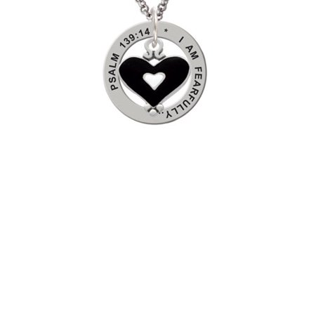 Black and White Enamel Heart Psalm 139:14 Affirmation Ring Necklace (Black And White Hearts)