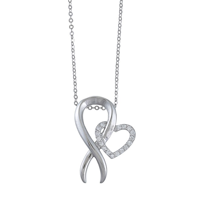 La Preciosa  Sterling Silver Cubic Zirconia Breast Cancer Ribbon Necklace