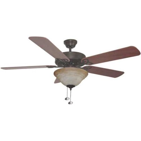 Bala Quick Connect Dual Mount Ceiling Fan With Bowl Light Kit, 52 In., Reversible Dark Oak & Mahogany Blades, Aged Bronze - Matte Bronze Quick Connect