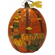 "10.5"" Give Thanks Scarecrow Pumpkin Decoration"
