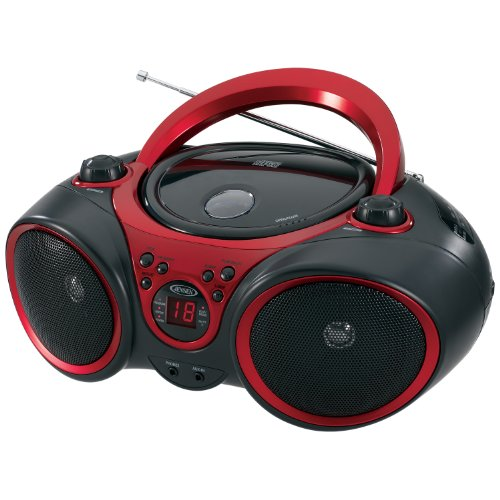 Jensen CD-490 Sport Stereo CD Player with AM/FM Radio and Aux Line-In, Red