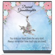 SheridanStar Granddaughter Multicolor Crystal Unicorn Fairy Necklace, Jewelry Gifts for Girls, Teens, Females from Grandma, Grandpa, Grandparents