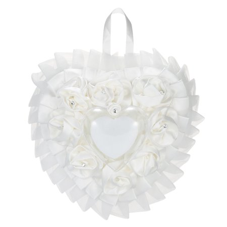 7 * 7 inches White Satin Organza Heart Wedding Ring Bearer Pillow Wedding Ceremony Decoration Supplies (Organza Ring Pillow)