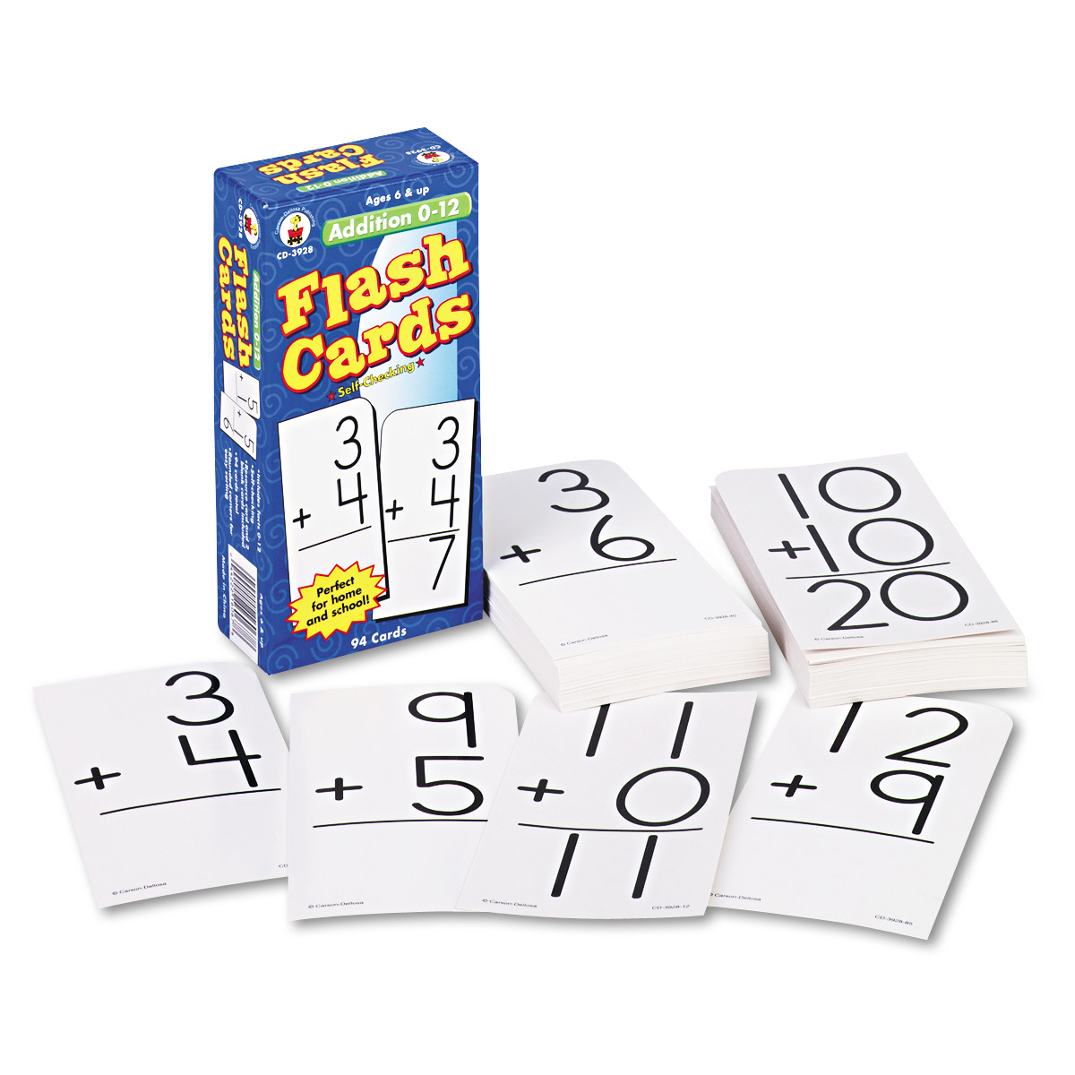 Carson-Dellosa Publishing Flash Cards, Addition Facts 0-12, 3w x 6h, 94/Pack