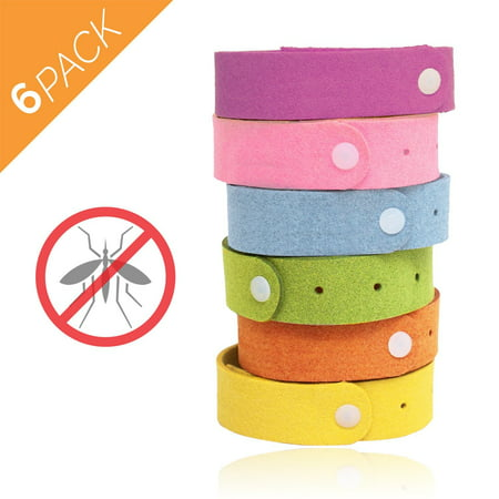 Mosquito Repellent Bracelets, Pest Bug Control Bands For Kids & Adults Outdoor Camping Fishing Traveling Pack of 6
