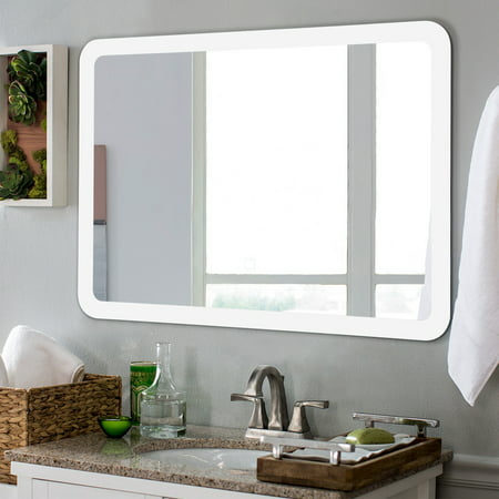 Costway Led Wall Mounted Mirror Bathroom Makeup Illuminated Rounded Arc Corner W Touch