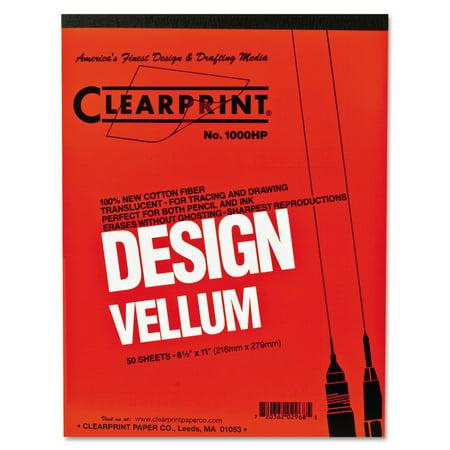 Clearprint Design Vellum Paper, 16lb, White, 8-1/2 x 11, 50 (Design Vellum)