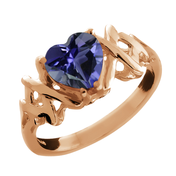 0.84 Ct Heart Shape Blue Iolite Gold Plated Sterling Silver Ring