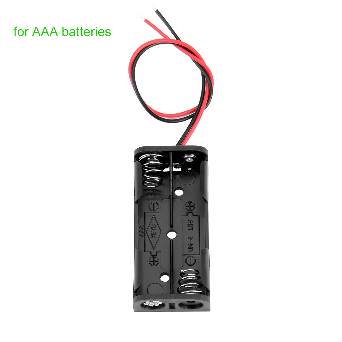 3V Battery Holder Case Storage Box 2 x 1.5V AAA Batteries Wire Leads 10pcs - image 1 of 4