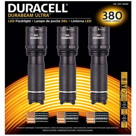 Duracell 380 Lumen LED Flashlight, 3-pack 380 Lumens 3 Beam Positions: High, Low, Strobe Ajustable Zoom Focus