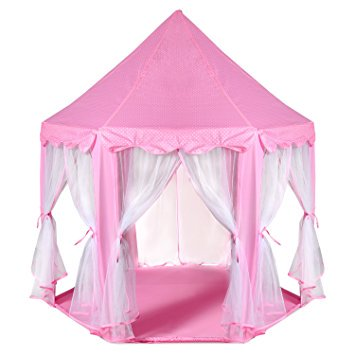 ODOLAND Princess Castle Tent ? Large Space Children Play Tent for Kids Indoor &