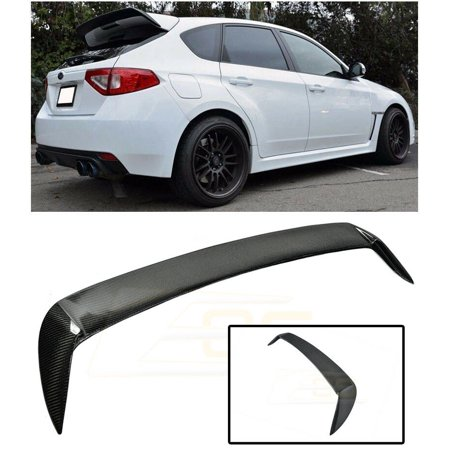 Extreme Online Store Repalcement for 2008-2014 Subaru WRX & STi Hatchback/Wagon | EOS Carbon Fiber Rear Roof Add-On Extension Wing Spoiler Gurney Flap EOS-SPOILER-015A-BKCF