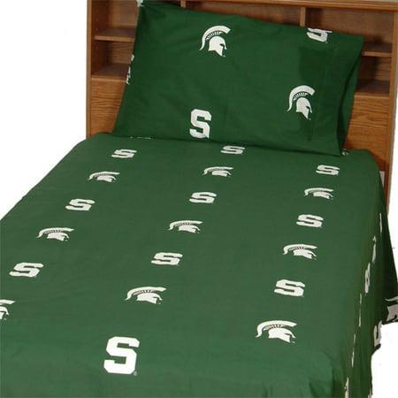 Michigan State Spartans 100% cotton, 3 piece sheet set - flat sheet, fitted sheet, 1 pillow case, Twin XL, Team Colors