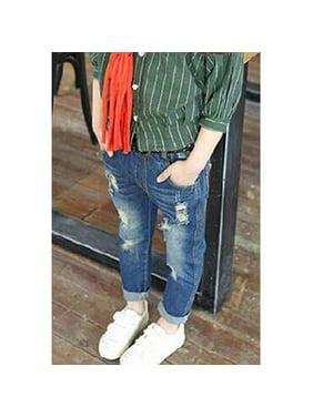 Kids Girls Slim Fit Shredded Pocket Style Jeans