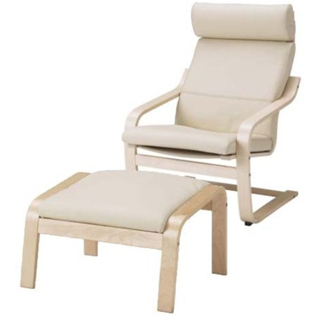 ikea poang chair armchair and footstool set with off white leather covers. Black Bedroom Furniture Sets. Home Design Ideas