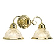 Design House 503029 Millbridge Traditional 2-Light Indoor Dimmable Wall Sconce with Clear Ribbed Glass for Bathroom Hallway Foyer, Polished Brass