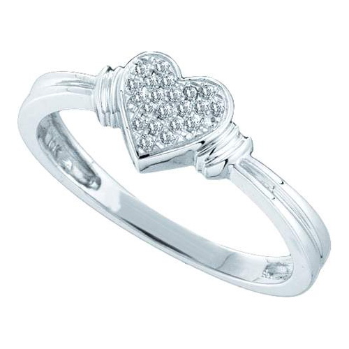 10K White Gold 0.08ct Shiny Micro Pave Round Cut Diamond Fashion Heart Ring
