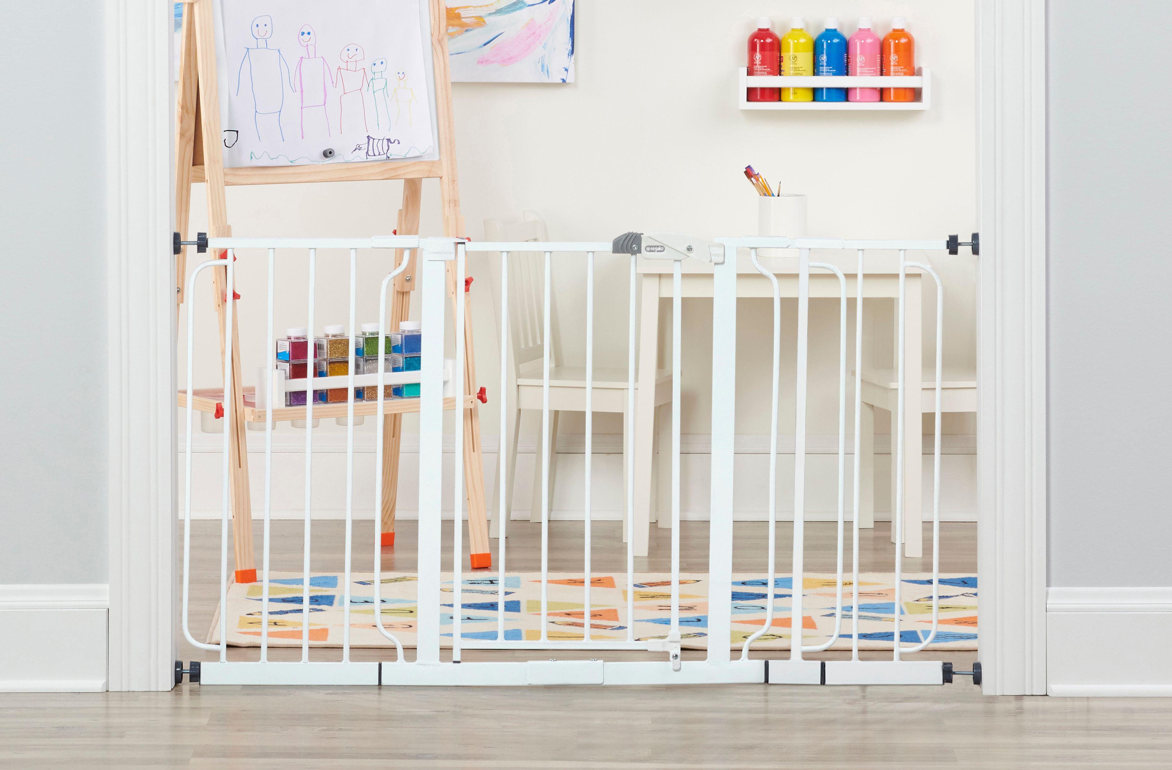 Includes 8-Inch Bonus Kit Regalo 56-Inch Extra WideSpan Walk Through Baby Gate