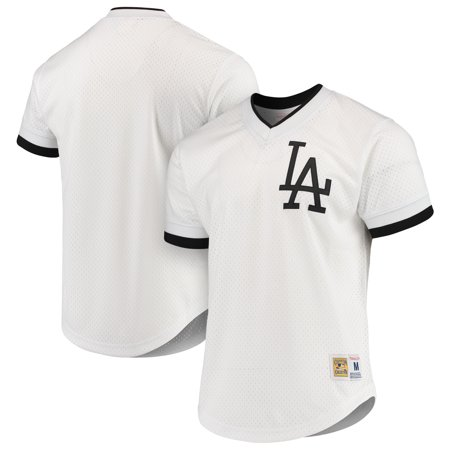 Los Angeles Dodgers Mitchell & Ness Mesh V-Neck Jersey - White/Black