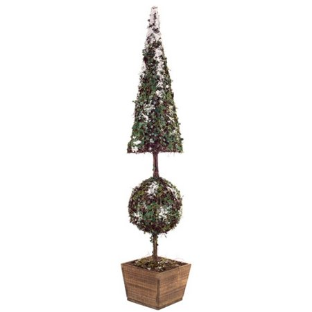 Christmas Topiary.40 5 Green And Brown Snow Covered Christmas Topiary Tree