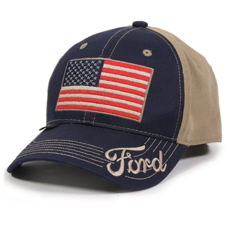 Outdoor Cap Unisex-Adult American Flag Truck Cap, Navy/Khaki, Adult - Truck Hats
