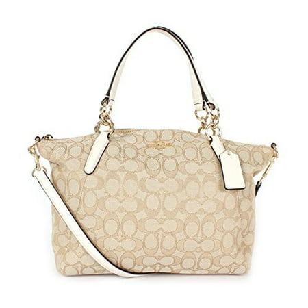 NEW COACH (F58283) SIGNATURE LIGHT KHAKI SMALL KELSEY SATCHEL BAG HANDBAG (Coach Small Handbags Crossbody)