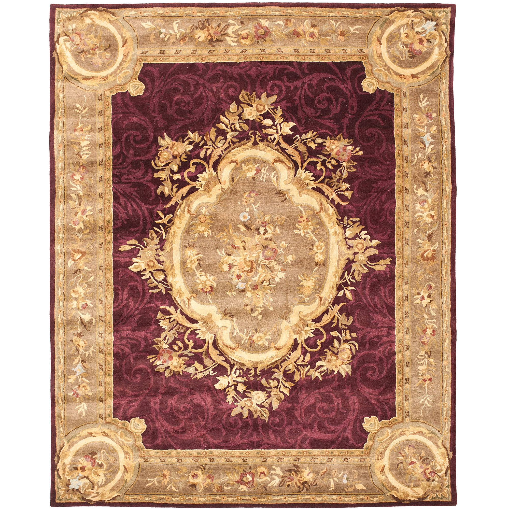 Safavieh Empire Russel Hand-Tufted Wool Area Rug, Dark Red/Dark Beige