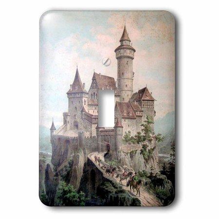 Medieval Single - 3dRose Print of Medieval Castle Color Illustration, Single Toggle Switch