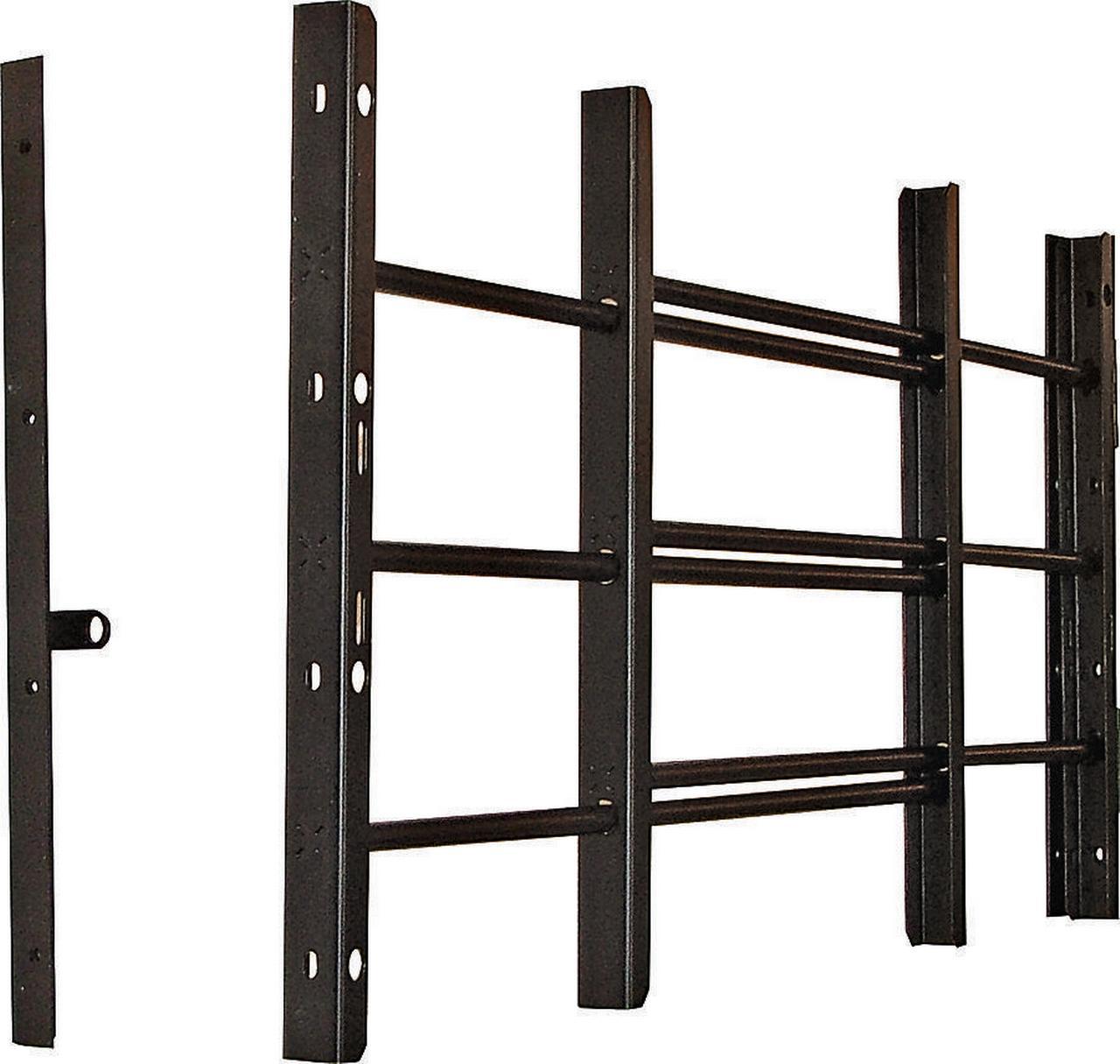 Grisham 93013 Horizontal Adjustable Window Guard, 22-3/4 in W x 14-3/4 in H, Solid Tubular Steel