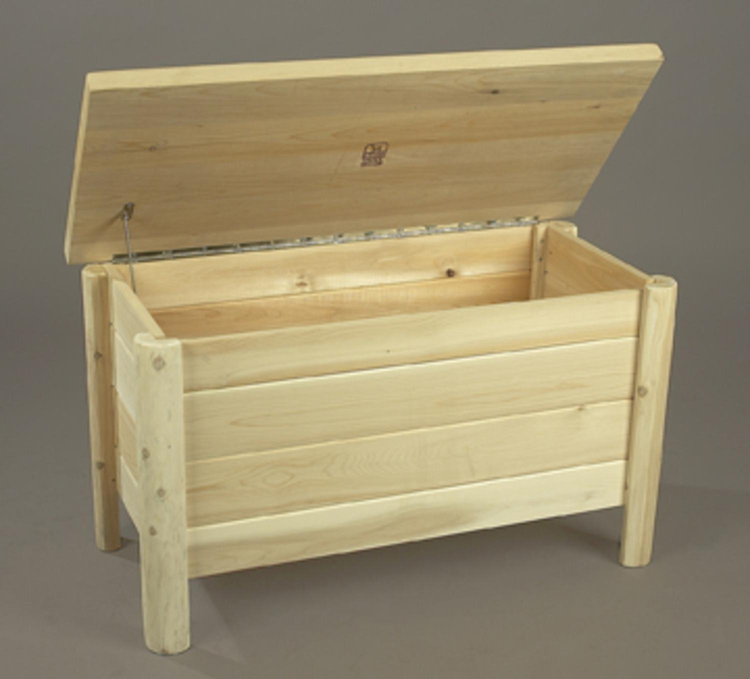 "Eco-Friendly 37"" Natural Cedar Log-Style Storage 2-in-1 Q..."