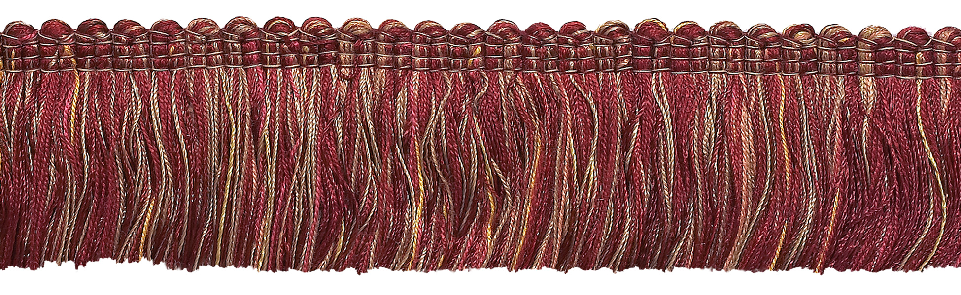 """By The Yard Burgundy Taupe Gold 3/"""" Beaded Fringe Trim Cranberry Harvest"""