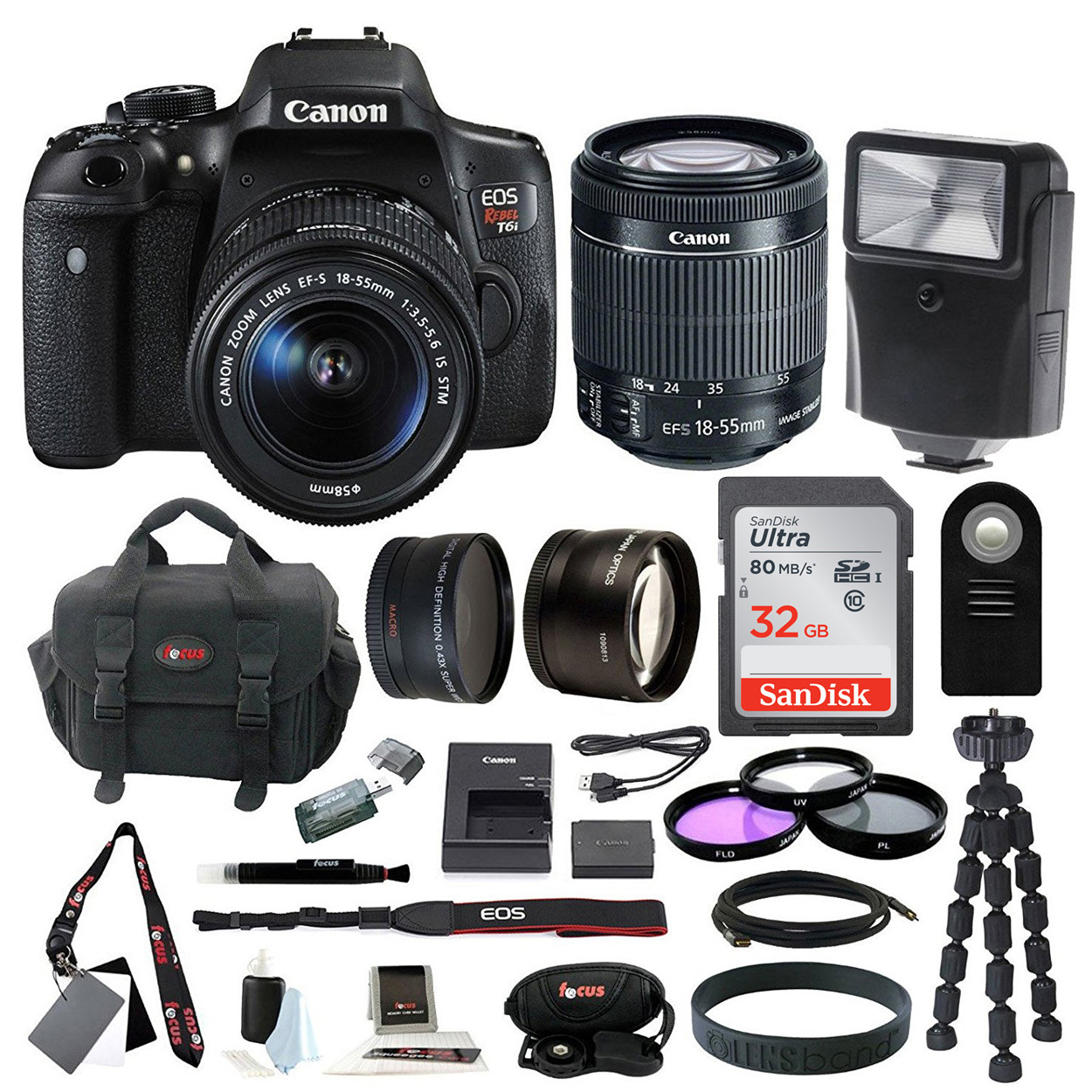 Canon EOS Rebel T6i Digital Camera with EF-S 18-55mm f/3.5-5.6 IS STM lens + kit