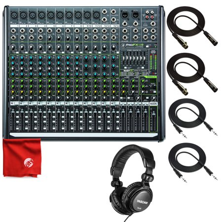 Mackie PROFX16V2 16-Channel Mixer with USB and Effects Bundle Including Tascam TH-01 Headphones + 2X TRS Cables + 2X XLR Cables + Microfiber Cleaning Cloth