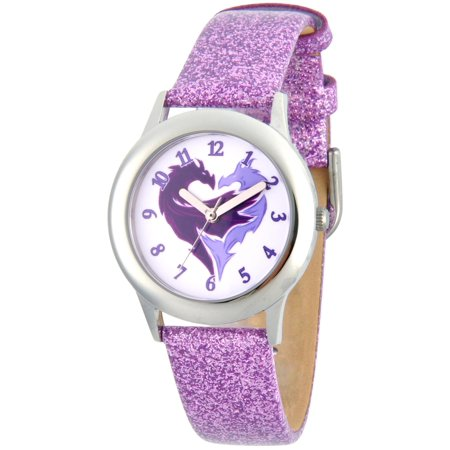 Icon Analogue Watch - Disney Descendants 2 Mal Icon Girls' Stainless Steel Watch, Purple Glitter Strap