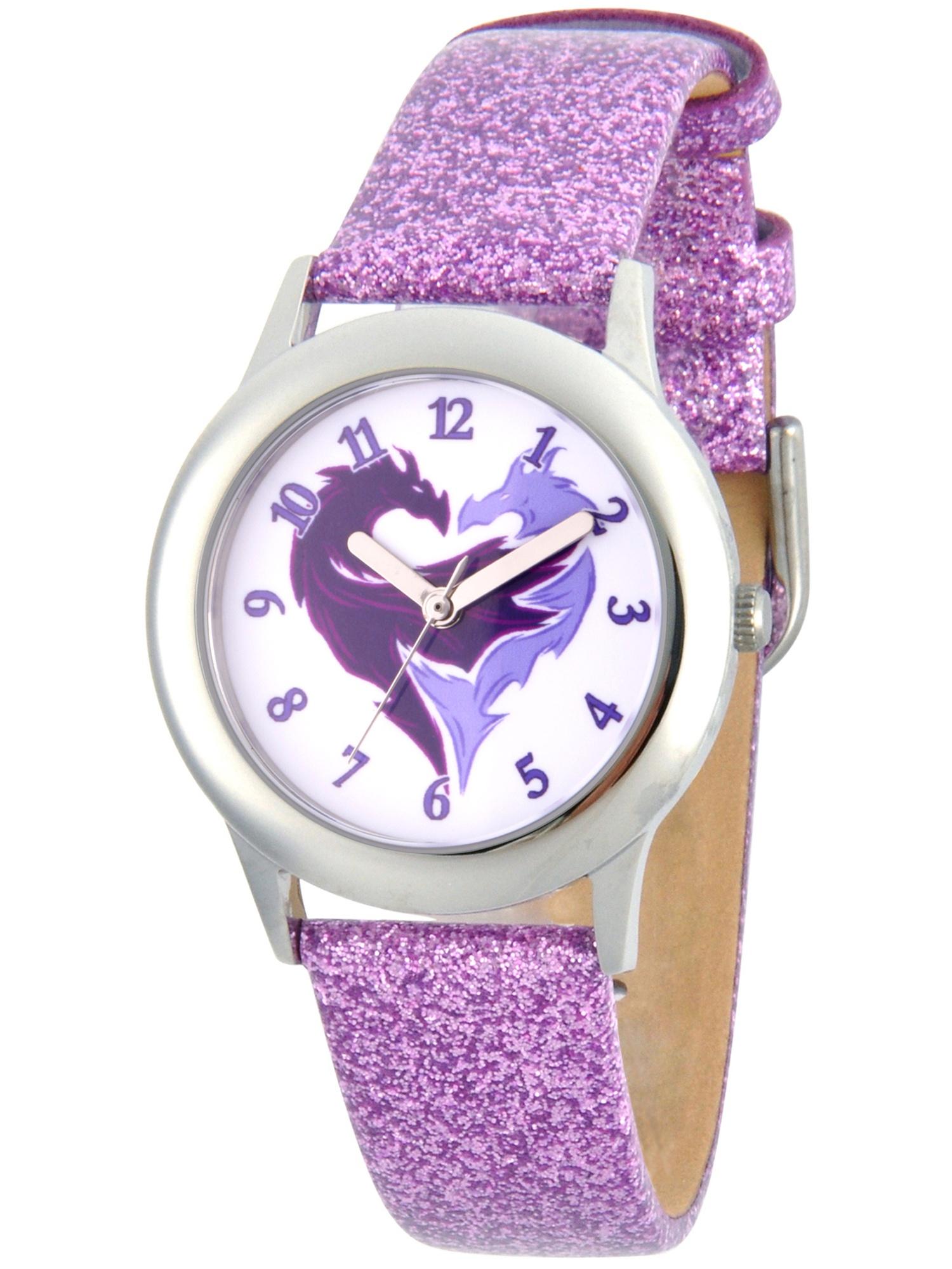 Descendants 2 Mal Icon Girls' Stainless Steel Watch, Purple Glitter Strap