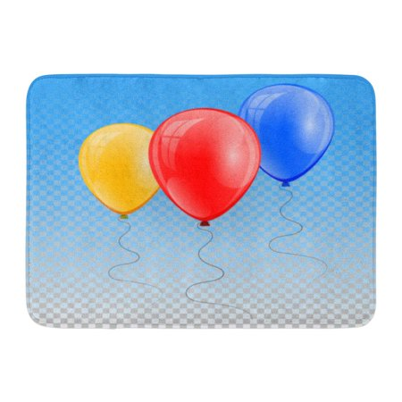 Blue And White Ballons (GODPOK White Ballon Blue Air 3D Realistic Colorful Balloon Holiday of Flying Glossy Red Anniversary Birthday Rug Doormat Bath Mat 23.6x15.7)