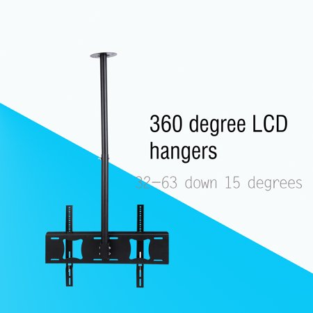 """Adjustable Height Ceiling TV Mount for Flat Panel Televisions?26""""-32"""" Articulating Hanging Swivel TV Pole Bracket"""