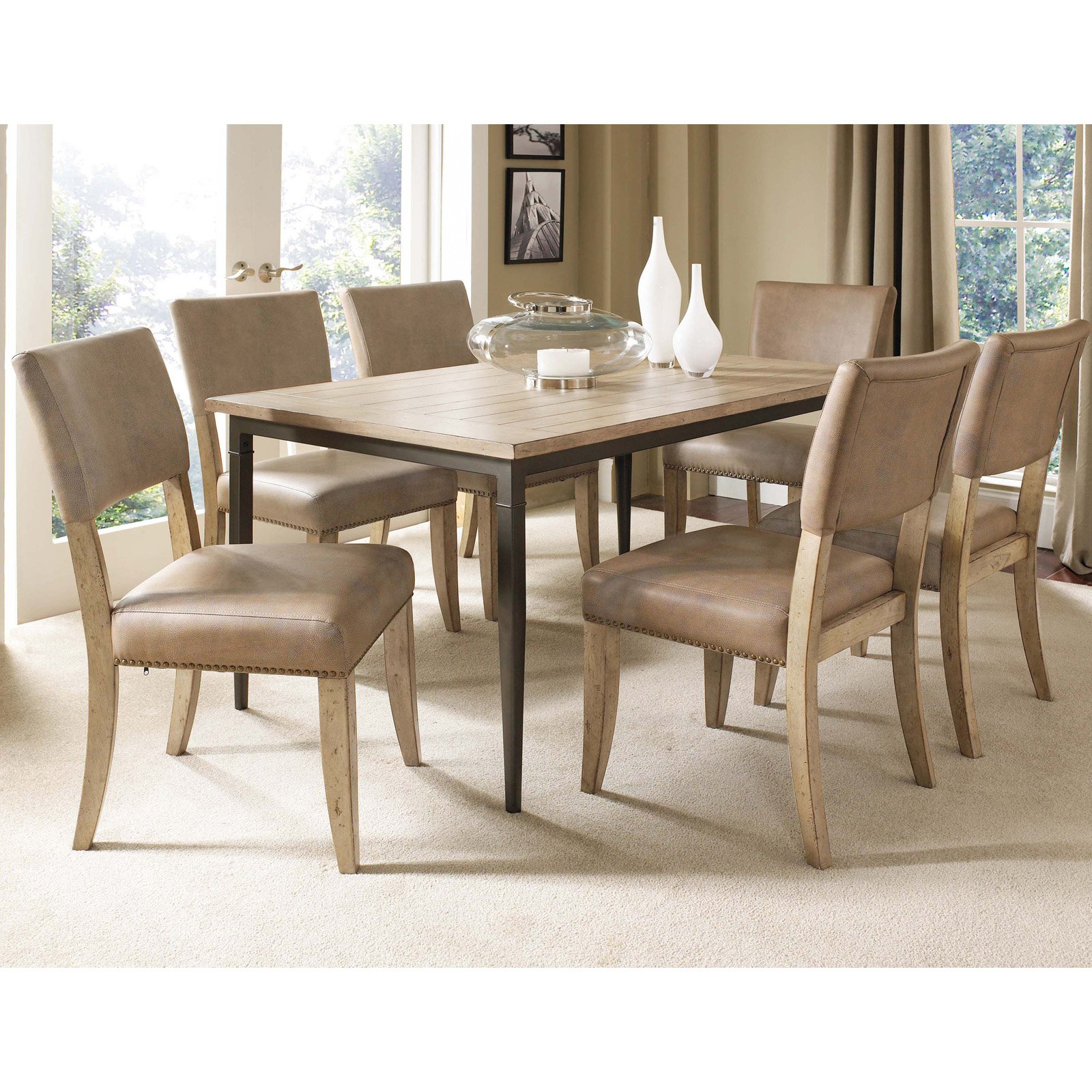 Hillsdale Charleston 7 Piece Rectangle Desert Tan Wood Dining Set with Parson Chairs
