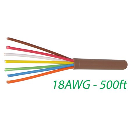 Hvac Heating - Logico 18-7 Thermostat Wire 18-Gauge Copper CMR Heating AC HVAC Cable 500FT