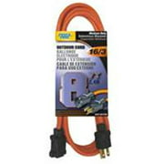 Powerzone OR501608 Extension Cord, 16 AWG, Orange Jacket, 8 ft L