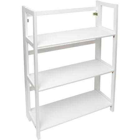 Lipper International 3 Shelf Folding Bookcase, White Finish