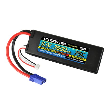2-Pack of Lectron Pro 11.1V 7600mAh 75C Hard Case Lipo Batteries with EC5 -
