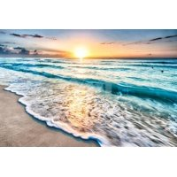 Sunrise over Beach in Cancun Beach Photo Print Wall Art By rebelml