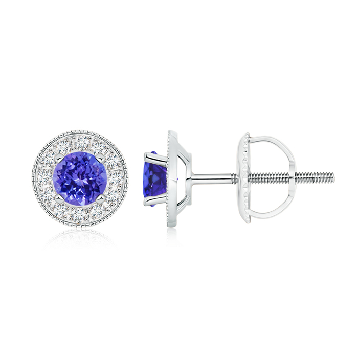 Angara Square Tanzanite and Diamond Halo Earrings in Platinum GbPVvu