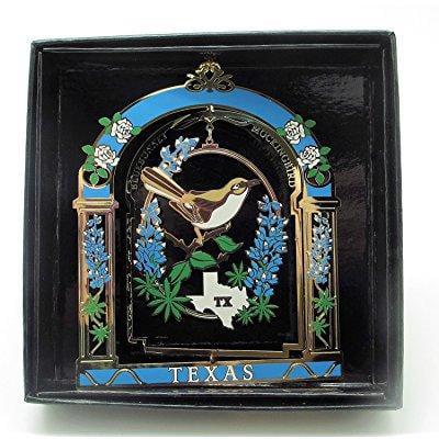 texas state bird & flower brass ornament