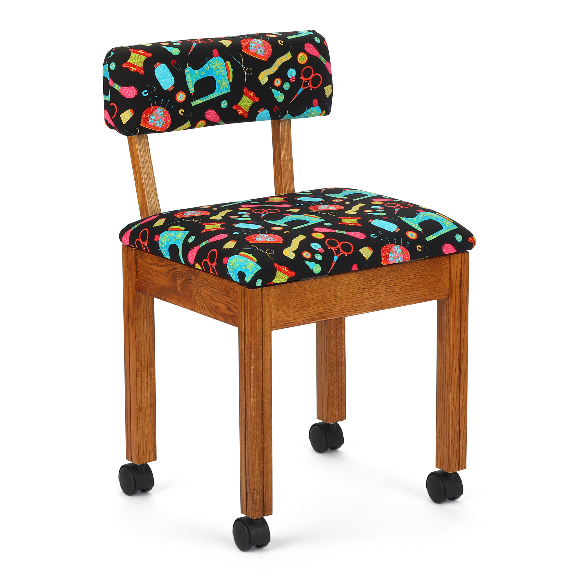 Arrow Wood Sewing and Craft Chair with Under seat Storage and Print Upholstery Fabric
