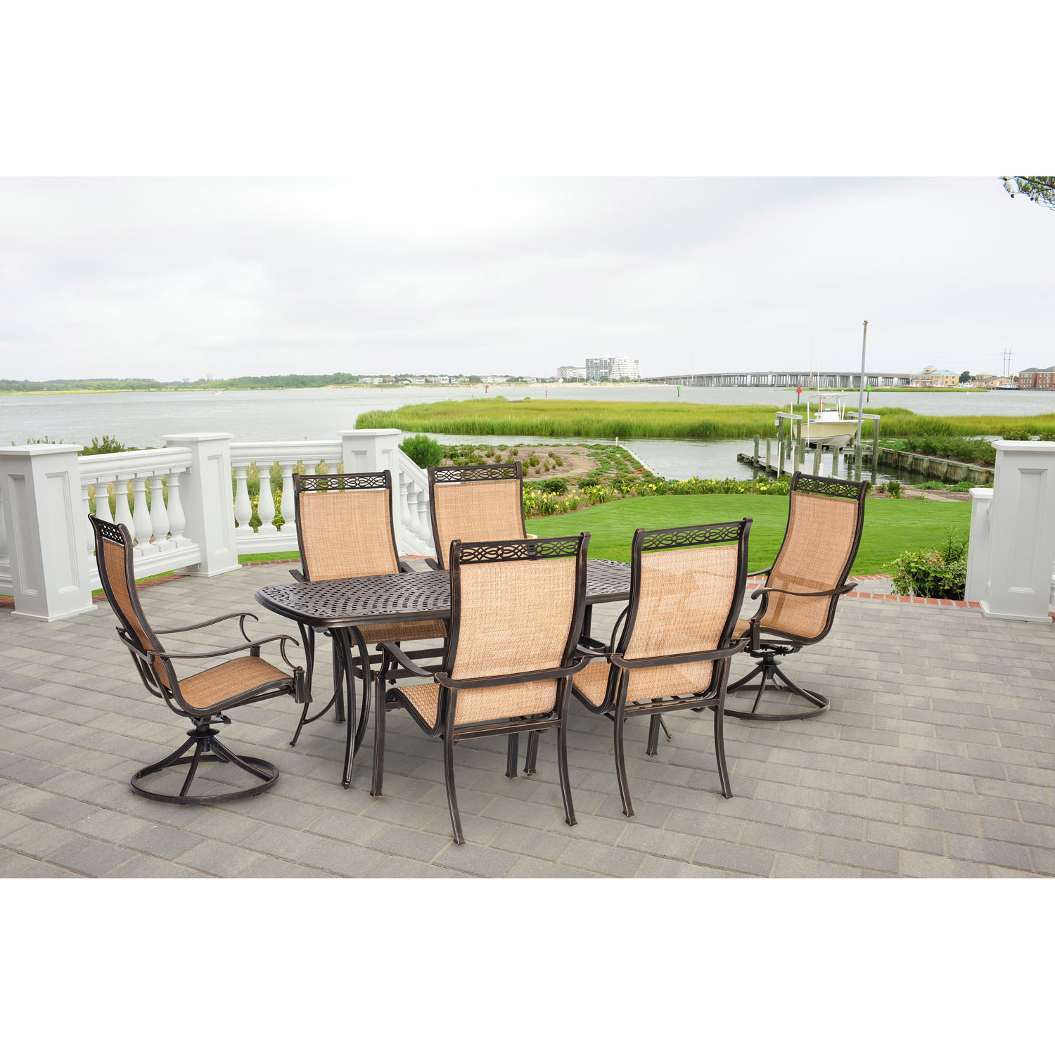 Hanover Manor 7-Piece Outdoor Dining Set with Two Swivel Rockers