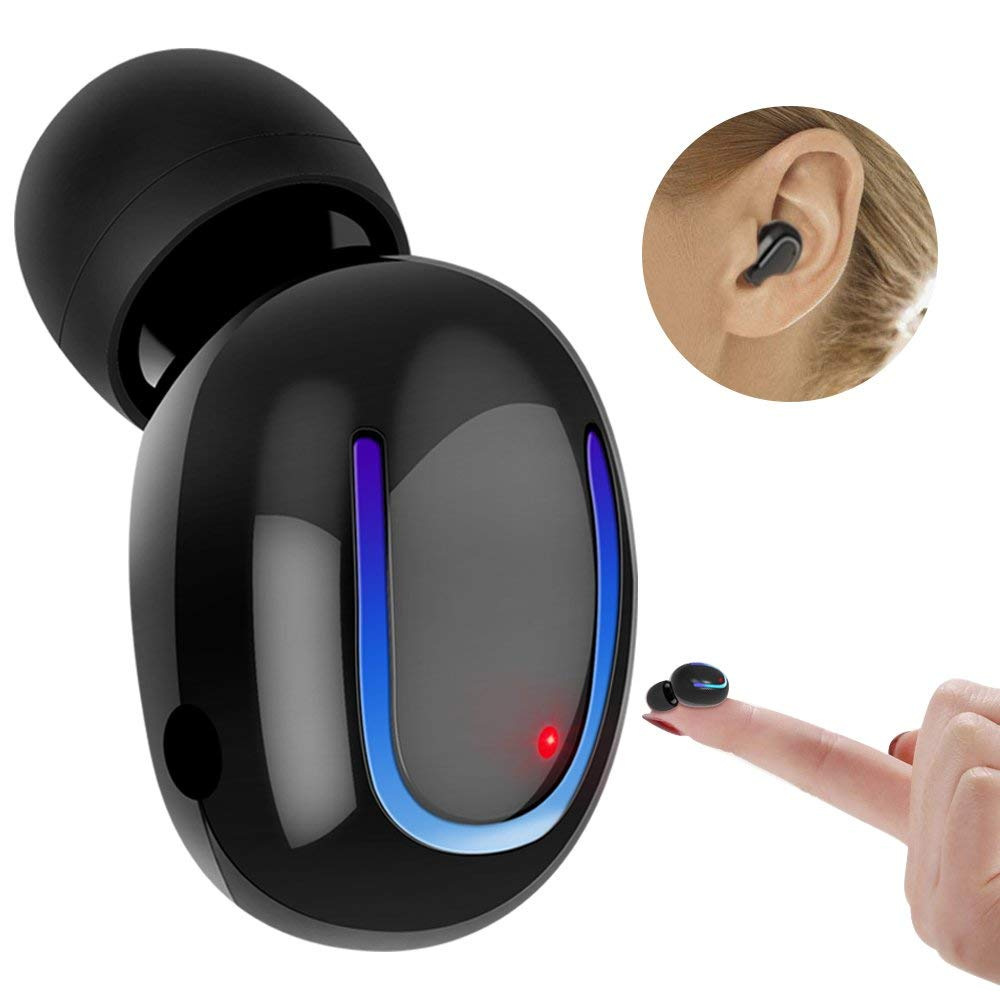 Bluetooth Earbud, KIPIER Wireless Headset Mini Car Earphone Hands Free Call Invisible In-Ear Sport Headphone with Microphone for iPhone, Smartphones Android-One Piece (Black)