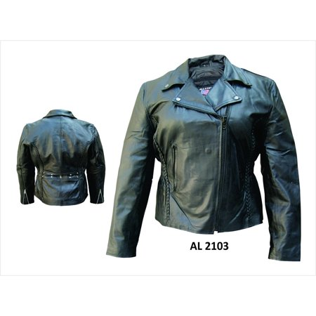 Ladies 2XL Size motorcycle vertical braiding on front & back Lambskin Leather Jacket